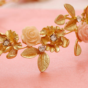 140 Bridal Headdress Hair Accessories retro matte gold porcelain flower alloy rhinestone bridal accessories bridal jewelry whole