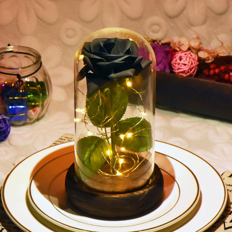 Beast Red Rose in a Glass Dome with LED Light Wooden Base for Valentine's Mother's Day Gifts