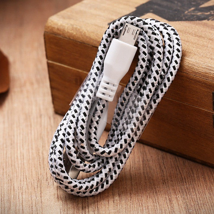 1M/2M Nylon Braided Micro USB Cable, Charger Data Sync USB Cable Cord For Samsung Galaxy Cell phones 10 Colors