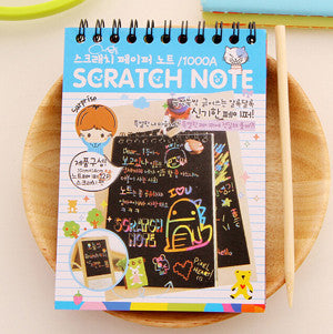 2 Piece DIY Scratchbook Scratch Stickers Note Book Drawing Sketchbook Children Gift Creative Imagination Development Toy Stationery