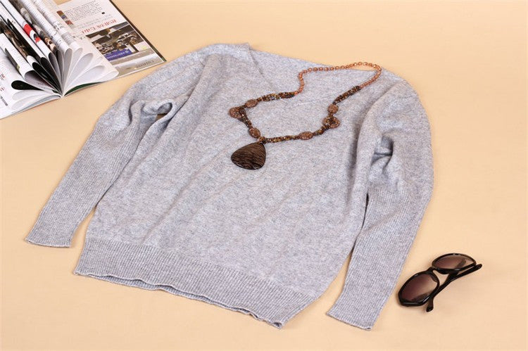 2016 Autumn Winter Cashmere Sweaters women fashion sexy v-neck sweater loose 100% wool sweater batwing sleeve plus size pullover