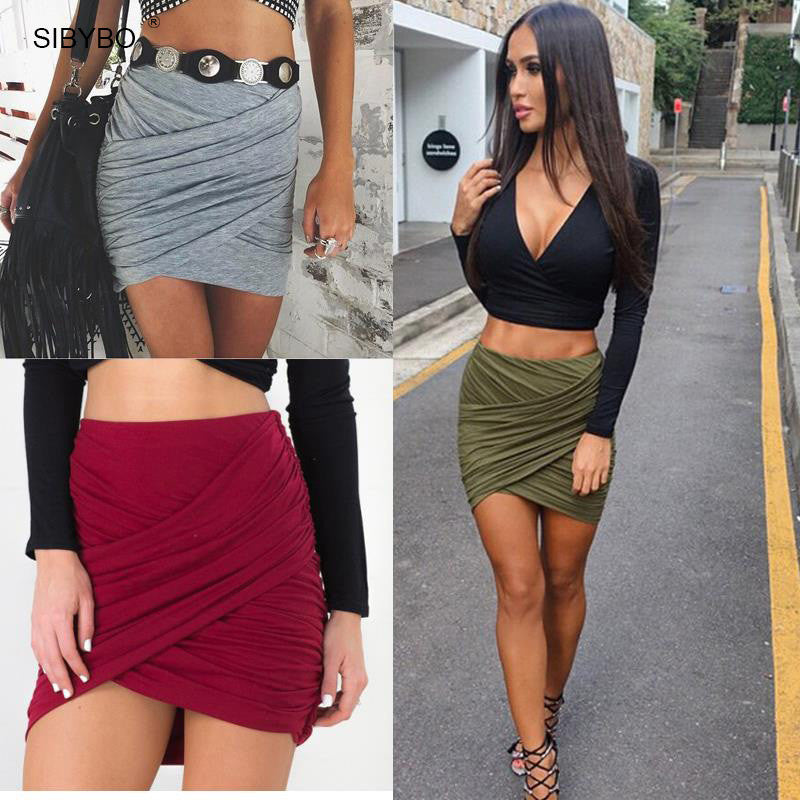 2017 American Apparel Street Fashion Women Lady High Waist Short Skirt  Sexy Bandage Bodycon Cross Fold  Pencil Skirts 5 Colors