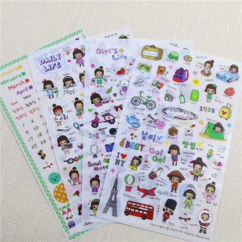 16 Pcs Daily Life 16 Sheet Cute Stationery Travel Pvc Kawaii Stickers/ Planner Stickers/ Sticky Notes / Post It / Papelaria