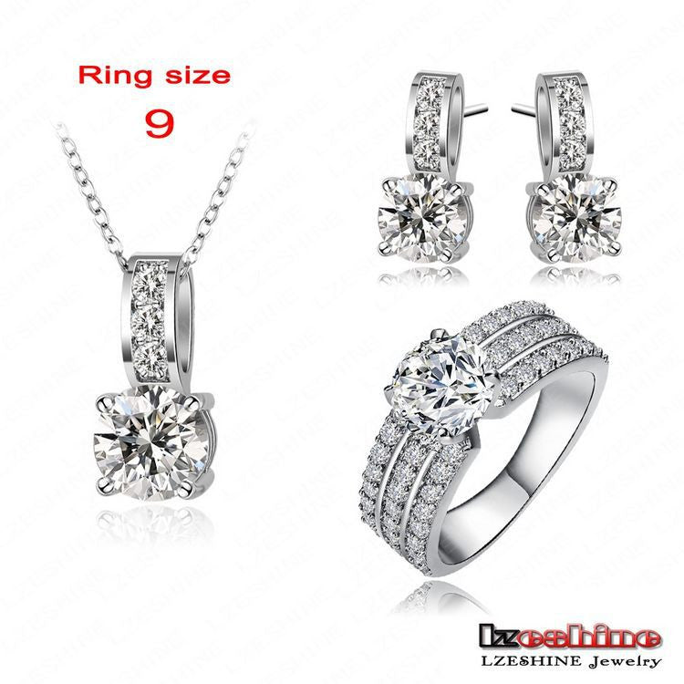 2016 Big Sale Bridal Jewelry Sets Platinum Plated Brand Necklace&Pendant /Earring/Ring Set Choose Size of Ring
