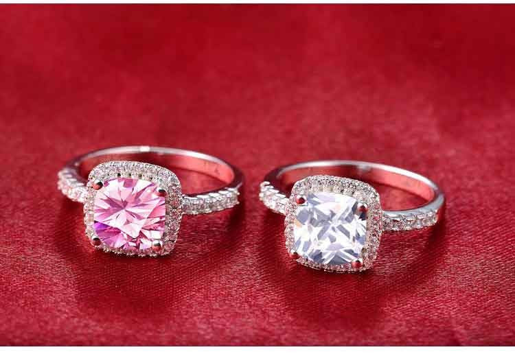 Real 925 Sterling Silver Sapphire Ring Pink Wedding Engagement Zirconia Finger