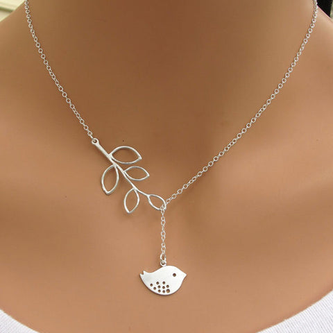Simple leaves Leaves birds short necklace, necklace b3xr