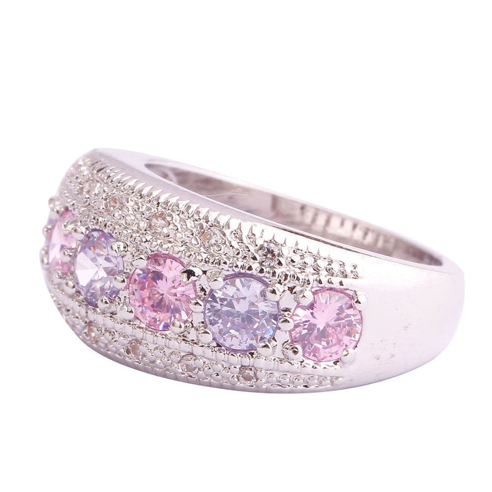 Dainty Lovely Round Cut Pink & White Sapphire
