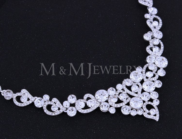 Silver Heart Crystal Bridal Jewelry Sets including Necklace and Earrings Christmas Gift