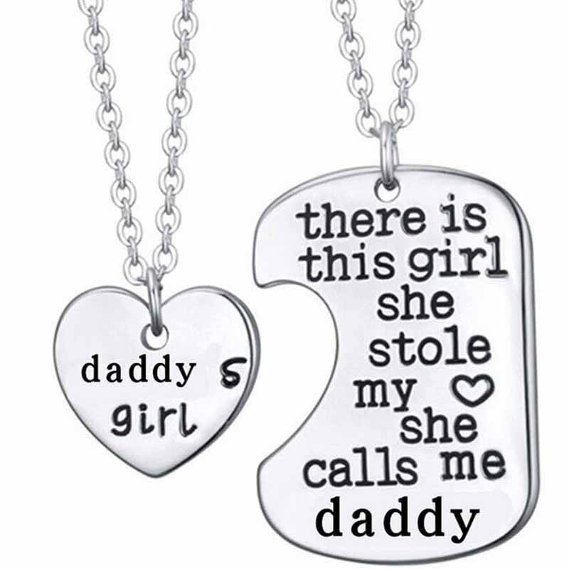 New Hot There is this girl she Stole my heart she calls me DADDY DAUGHTER Dog Tag Heart Pendant Necklace Father's Gift Jewelry