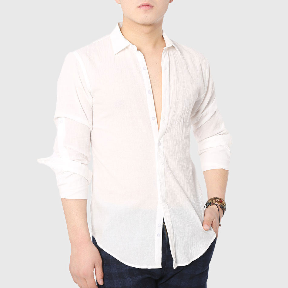 Quick Drying Men's Casual Chambray Shirts Summer Beach