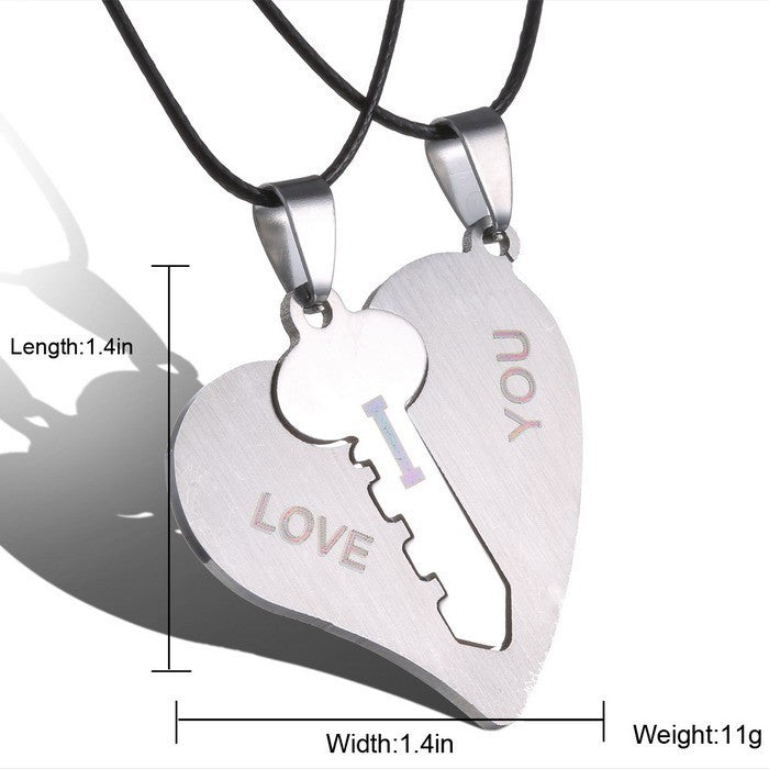 Fashion Korean Couple Necklaces Set  Pendant Necklace Engrave I Love You Matching Hearts Key 316L Stainless Steel