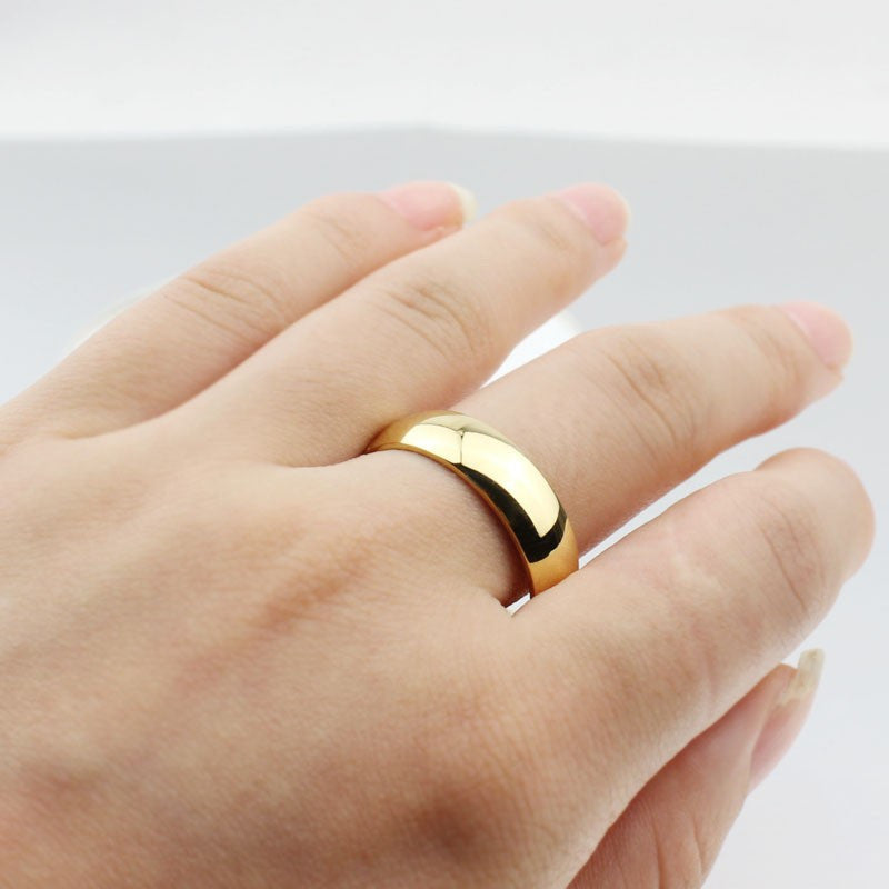 18K gold-plated ring wedding rings for men women stainless steel couple jewelry - Gifts Leads
