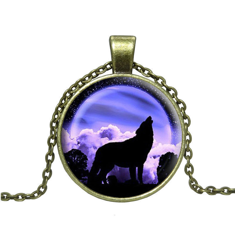 Fashion Wolf Art Picture Pendant Necklace Glass Cabochon Choker Necklace Vintage Bronze Statement chain Necklaces & Pendants