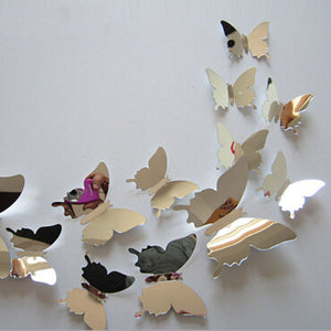 12Pcs Vinyl 3D Removable Decorative Silver Butterflies Wall Stciker For Kids Room Christmas 3D Art Wall Decals Home Decor - Gifts Leads