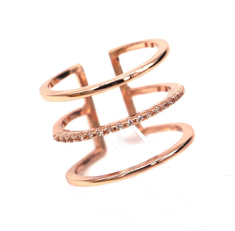 Micro pave 3 layers gold ring trending rings for women gift