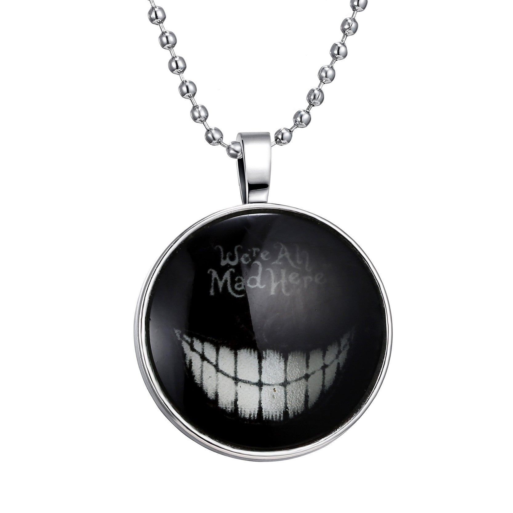 Fashion Devil Smile Style Necklace Glass Cabochon Silver Chain Pendant Necklace Glow In Dark Women Men Halloween Fine Jewelry