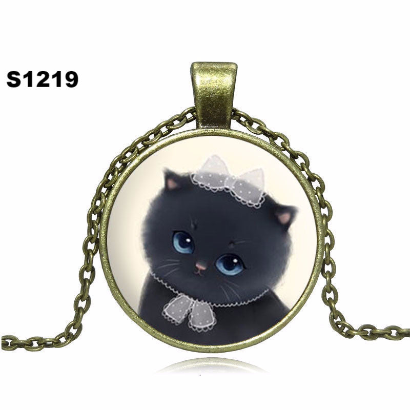 New 2016 Cute Cat Pendant Necklace Glass Cabochon Vintage Bronze Accessories Chain Necklace for Women Fashion Fine Jewelry