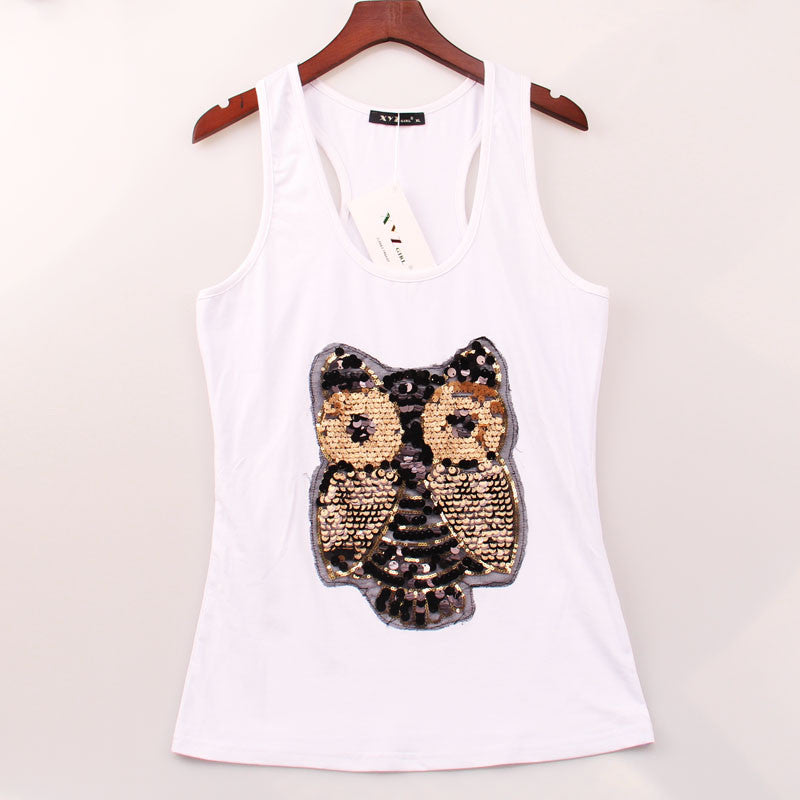2 Colors Sport Sexy Tank Top Women OWL Sequined Sequins Vest Women Tops Round Racer Back Hot Sale Gym Camisole Women Clothing - Gifts Leads