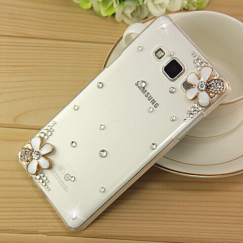 New 3D White Flower Bling Crystal Diamond Transparent Cell Phone