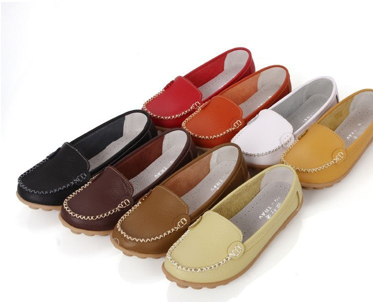 Women genuine Leather Shoes Slip-on Ballet women Flats