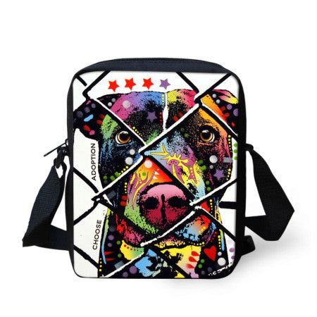 New Brand Designer Women Messenger Bags Pet Dog Printing Shoulder Bag Girls Cross Body Bag Pug Bulldog Messenger-Bag for Woman