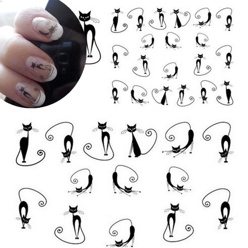1 sheets Sexy Stray Black Cute Design Nail Art Water Transfer Stickers Decals DIY Beauty Decal Nail Decoration Tools - Gifts Leads