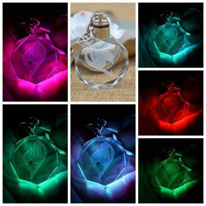 2016 Creative Japanese Anime Mini Hatsune Miku Fairy Tail Crystal Colourful Led Light Key Chain Keyring - Gifts Leads