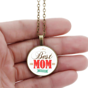2016 Fashion Silver Chain Necklace Best MOM Glass Cabochon Pendant Necklace Mother's Day Brithday Gift Necklace Women Jewelry