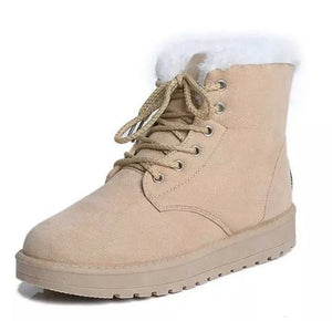 Women Cross Strap Plush Flat Ankle Boots Half Short Boot