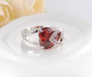 Romantic Christmas Love Gift Female Ring Fashion Accessories Real Platinum Plated