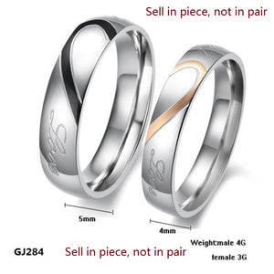 Fashion Jewelry 316L Stainless Steel Silver Half Heart Simple Circle Real Love