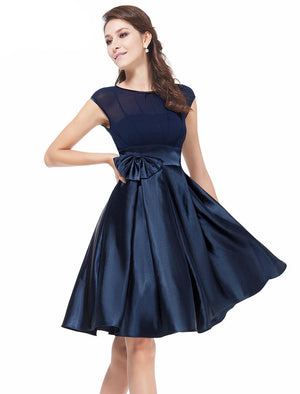 Free shipping  Black Bowtie Round Neck cap sleeves Ruffles Satin Women knee length Cocktail Dress