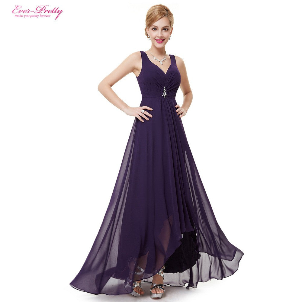 Ever Pretty 2016 New Arrival Double V Neck Rhinestones Ruched Bust High Low Formal Evening Dress