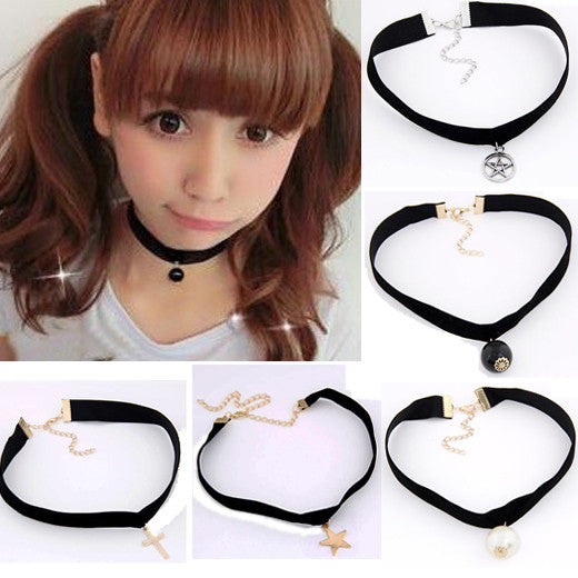 Goth Black Velvet Ribbon Pearl Star Cross Gothic Tattoo Choker Necklace Sailor Moon Cosplay Jewelry Women Accessories 2016 New