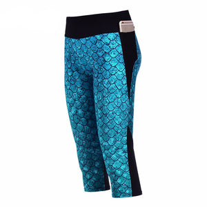 Sexy Women's 7 point pants women legging Blue scales