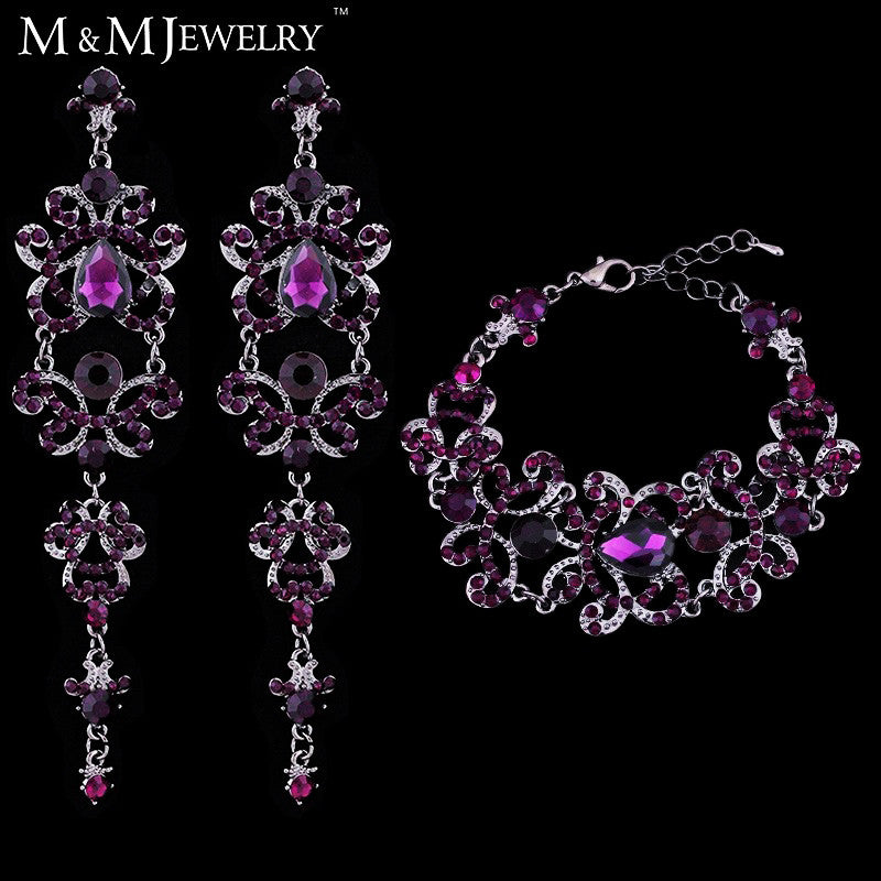 Vintage Unique Style Butterfly Shape Purple Austrian Crystal Long Earrings + Bracelets Wedding Bridal Jewelry Sets