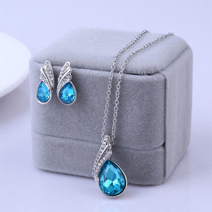 2016 New Hot Sterling Silver Jewelry Sets Cystal Water Drop Earrings Statement Necklace Fashion Woman Fine Jewelry