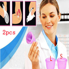 (S+L) 2pc Feminine hygiene products vagina care / lady menstrual cup / alternative tampons medical silicone cups Safety lady cup - Gifts Leads