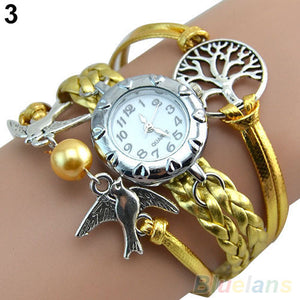 Life Tree Birds Charm Leather Bracelet Style Wrist Watch