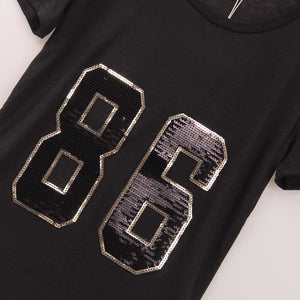 2 Colors Hot Sale T Shirt Women 86 Sequined Sequins T-shirt Women New Fashion Casual Rock Summer Top Tee Shirt Femme Sakura - Gifts Leads