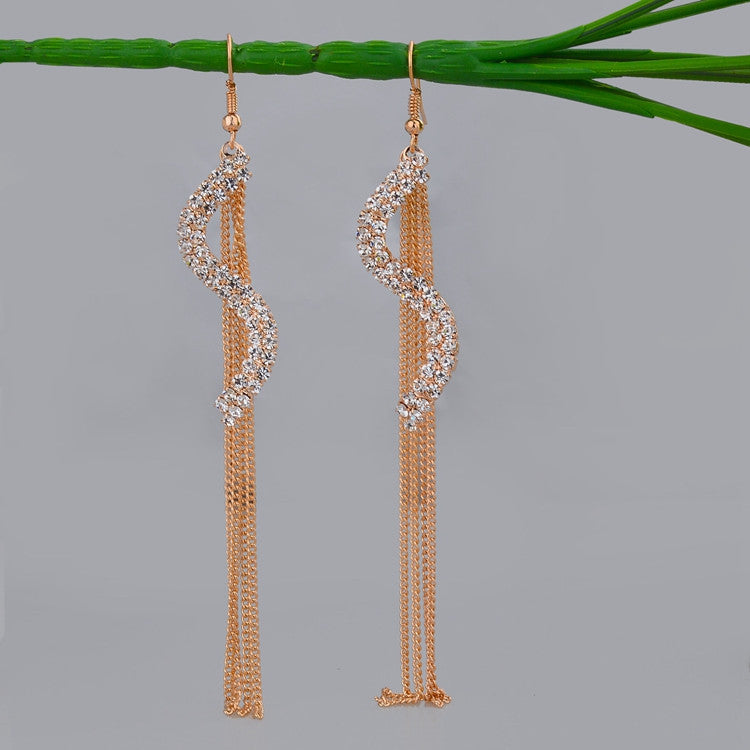 Vintage Tassel Dangle Earrings Gold Plated SWA Element Austrian Crystal Earrings Fashion Big Geometric Design Jewelry