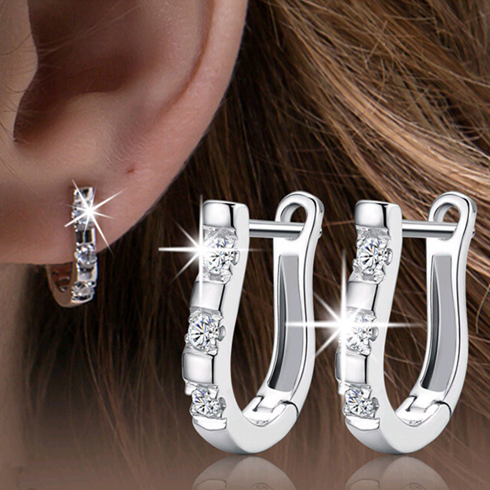1Pair 925 Sterling Silver Nice White Silver Brincos Ouro Women's Hoop Earrings For Women Earring Jewelry Gift 2016 - Gifts Leads