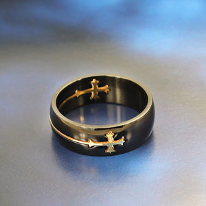 Top Quality Titanium Ring with Cross Charms,Moveable Cross Titanium Ring,Both Men & Women Style OTR020
