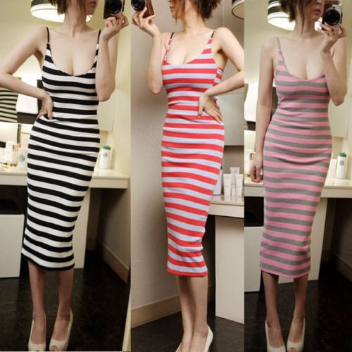 2016 Sexy Women Holiday Casual Spaghetti Strap Striped