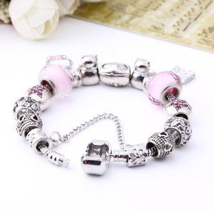 Lovely Gift Candy Styles Murano Glass Beads Kitty Charm Bracelet Fit Original Pandora Bracelets Bangles Jewelry For Women