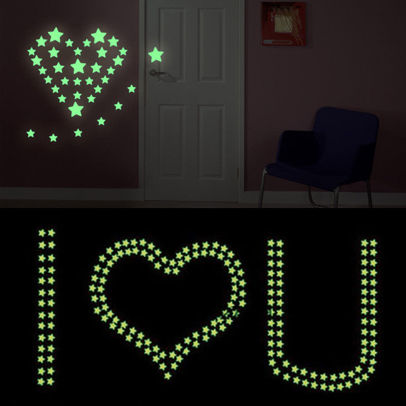 100PCS Home Wall Ceiling Glow In The Dark Stars Stickers Decal Baby Kids Bedroom - Gifts Leads