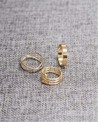 Punk gold plated stackable Knuckle midi rings for women Finger Ring Set