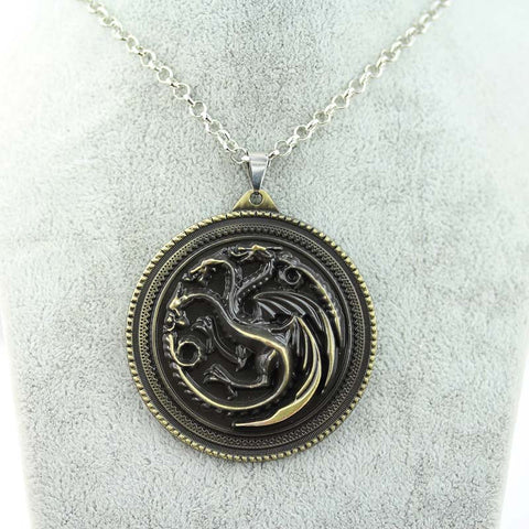 "2017 Movie necklace HBO Game of Thrones House Stark Winter Is Coming Bronze 2"" Metal pendant"