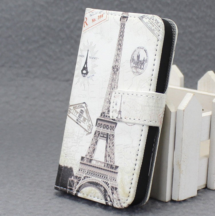 TPU Leather Flip Hard Tower Pattern Style Cover Case
