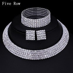 New 2016 Classic Circle Czech Rhinestone Crystal Wedding Jewelry Sets African Jewelry Set Necklace Earrings Bracelet